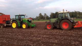 stuck john deere 6210r saved by a fendt 716 vario tms