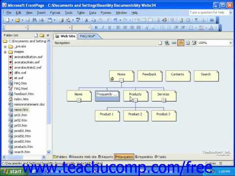 FrontPage Tutorial Using Navigation View Microsoft Training Lesson 81