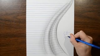 Time Lapse Drawing - Line Paper Folds Trick Art