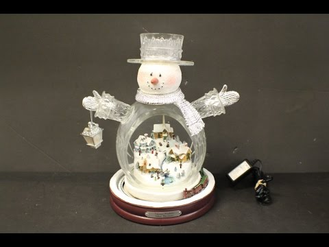 """Thomas Kinkade White Christmas"" Crystal Snowman w/ Light Up Town & Moving Train"