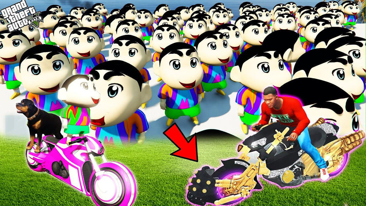 GTA 5 : Franklin And Pinchan Try To Escape From 1000 Shinchan In GTA 5 ! (GTA 5 mods)