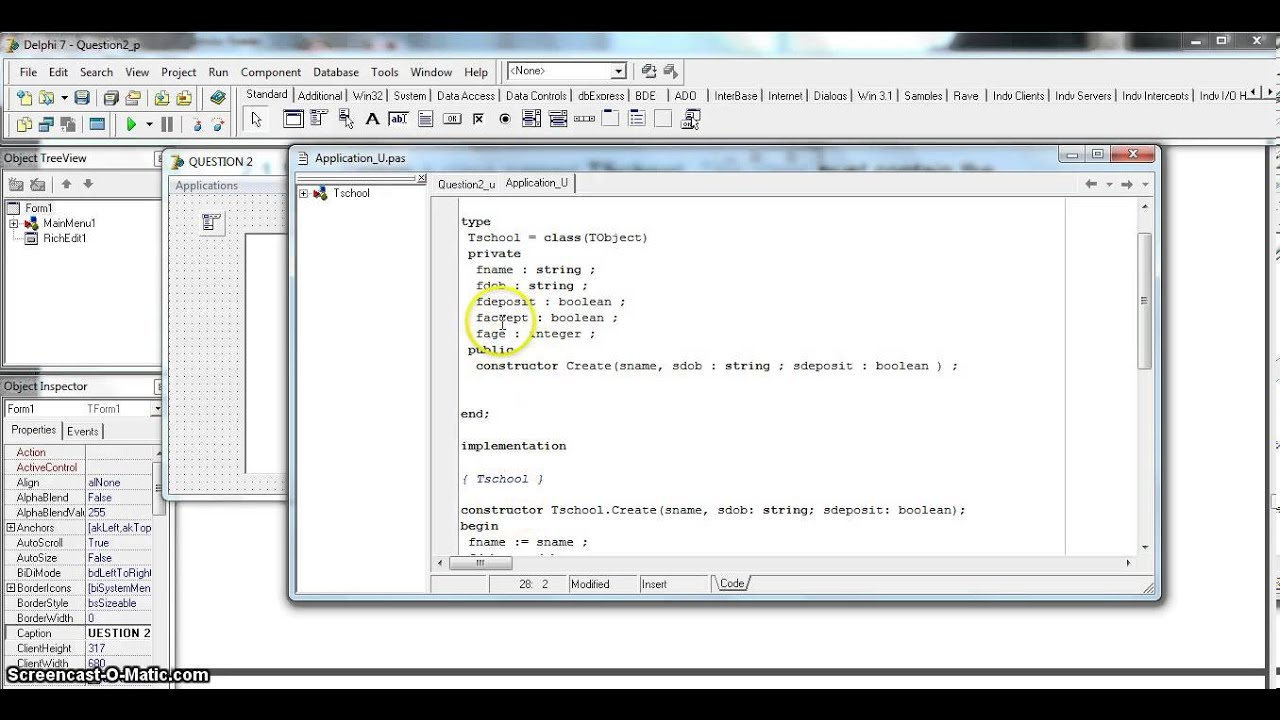 OOP in Delphi - School Acceptance Example (Part 1) EC 2013 Sept P1