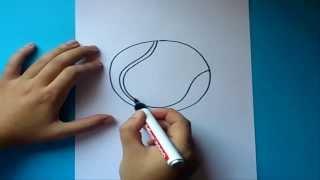 Como dibujar una pelota de tennis paso a paso | How to draw a tennis ball