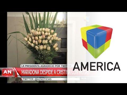Maradona le envió un ramo de rosas a la presidenta para despedirla