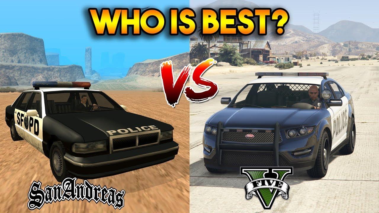 GTA 5 ONLINE : GTA 5 COPS VS GTA SA COPS (WHO IS BEST?)