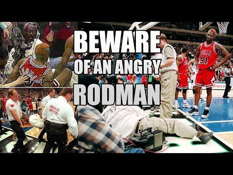 Dennis Rodman Got MAD, Kick Cameraman (and His Post-Game Interview) (1997.01.15)