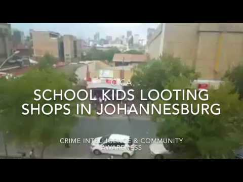 School kids in Johannesburg on rampage looting shops,stoning vehicles & attacking innocent civilians