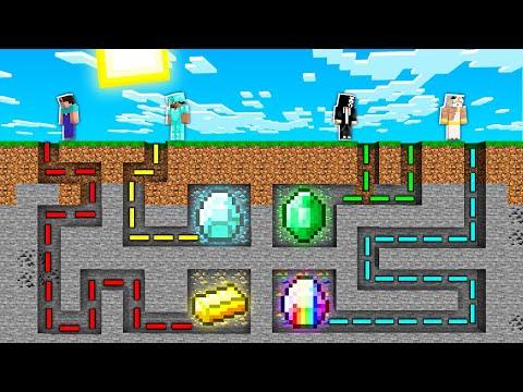 MAZE TO TREASURE MINE! Minecraft NOOB Vs PRO Vs HACKER Vs GOD! 100% TROLLING GIANT ORE CAVE MINE