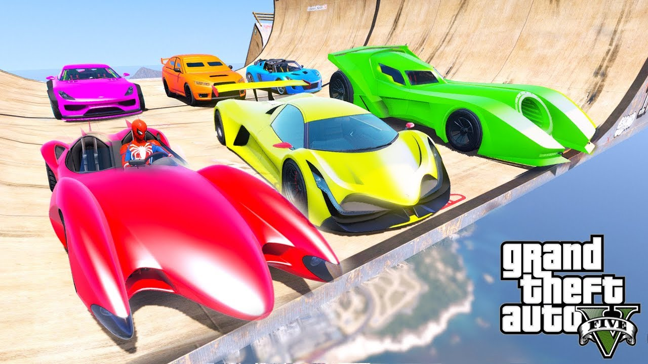 CARS with Spiderman and SUPERHEROES High Speed Racing Cars Rampa Challenge – GTA V Mods