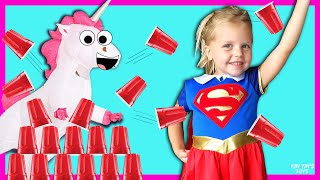 GIANT Cup Wall Stacking Game With Kin Tin | Colorful Cups | Superhero