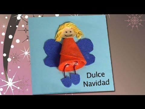 Postal navide a con un ngel de fieltro manualidades para - Manualidades navidad primaria ...