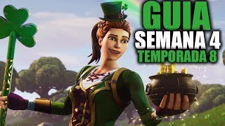 COMO COMPLETAR TODAS LAS MISIONES DE LA SEMANA 4 TEMPORADA 8 - Fortnite Battle Royale