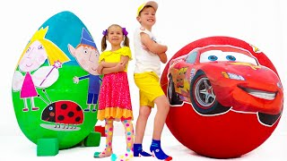 Max and Katy unboxing toys from Cars and Holly surprise eggs