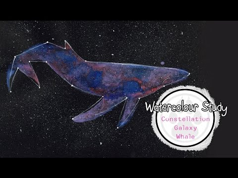 Watercolour Study - Pastel Constellation Whale