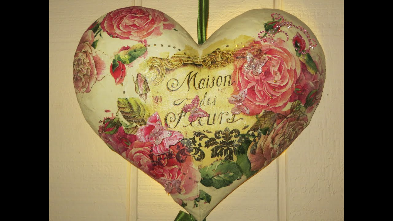 DIY How to Decoupage a French Heart