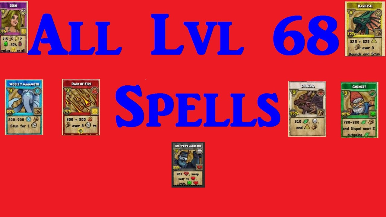 Wizard101 All The Level 68 Spells Youtube