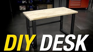 Why Buy a Desk When You Can Build One?! DIY Metal Frame & Butcher Block Desk - Eastwood