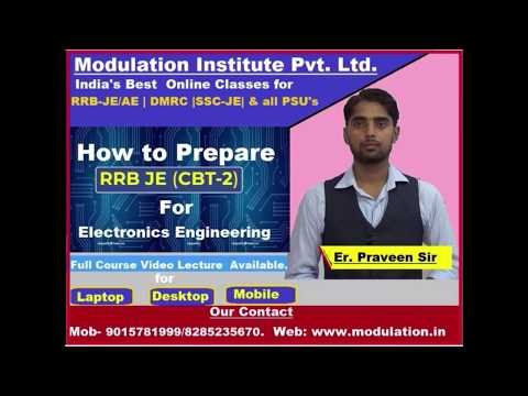 RRB JE CBT 2 - how to prepare for Electronics engineering lecture 2 #ModulationInstitute
