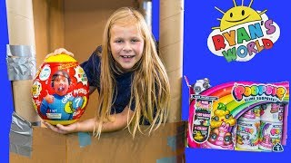 Assistant Picks between Ryan Toy Reviews Giant Surprise Eggs and Poopsies Unicorn Slime Surprises