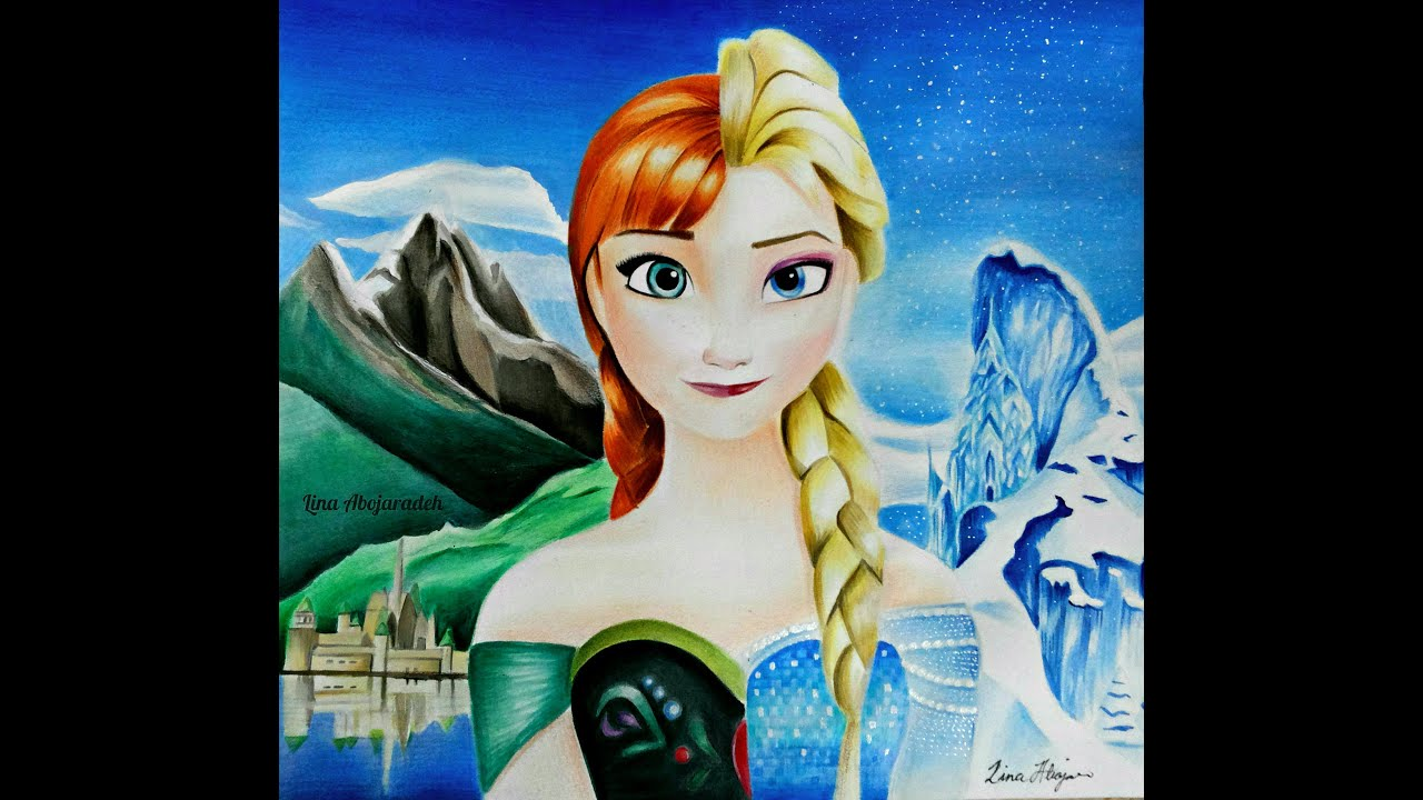 frozen drawing queen elsa and anna speed drawing youtube