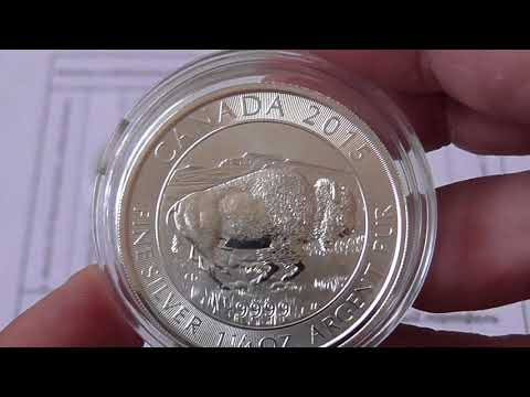 Серебряная монета Канадский Бизон,8 долларов, вес 1,1/4 унции(38,88гр.), проба 9999.