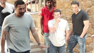 Sunny Deol And Bobby Deol Arrives At Ajay Devgn's House For Last Respect To Veeru Devgn