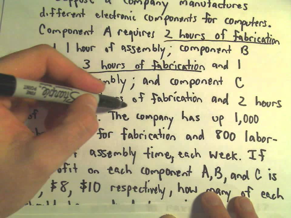 The Simplex Method - Finding a Maximum / Word Problem Example, Part