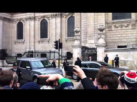 Tony Blair gets booed leaving Baroness Thatcher's funeral.