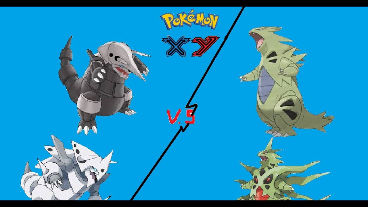 pokemon x y tyranitar vs aggron - YouTube