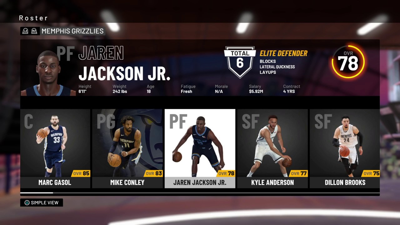 NBA 2K19 - Memphis Grizzlies Roster - All Players Ratings Positions Ages  Colleges & Stats