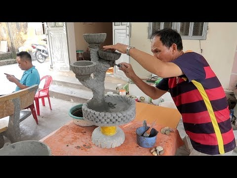 Amazing Ideas With Cement - Making Pots Tree Stump Combined Fish Tank Beautiful and Easy