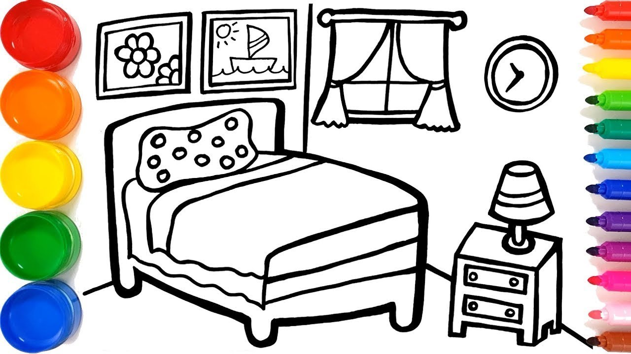Vẽ và tô màu giường ngủ cho bé ,Glitter Bedroom coloring and drawing for Kids, Toddlers