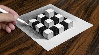 How to Draw Chess Pyramid on Paper - Easy 3D Trick Art Drawing