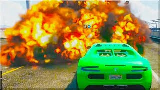 GTA 5 Funny Moments - Luckiest man Alive - (GTA V Online Stunts & Race)
