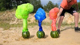 EXPERIMENT: Watermelon Volcanoes! Coca Cola vs 7up vs Fanta vs Watermelons and Mentos
