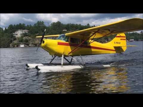 Dan landing Aeronca seaplane Lake Muskoka 20170719