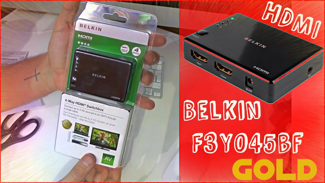 Hdmi Belkin F3y045bf Switch For 4 Way Box Hd Tv 2015