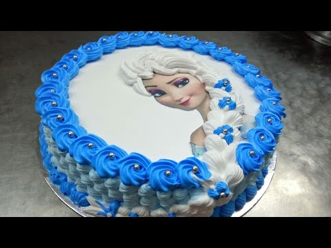 Frozen elsa photo cake easiest ever.This video is about making and decorating a frozen