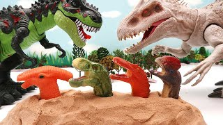 Rescue Dinosaurs In Danger! Scary Indominus Eat Mini Dinosaurs. T Rex, Triceratops 공룡 구출