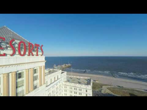 Resorts Casino Hotel Atlantic City - Aerial Video of Beach & Boardwalk