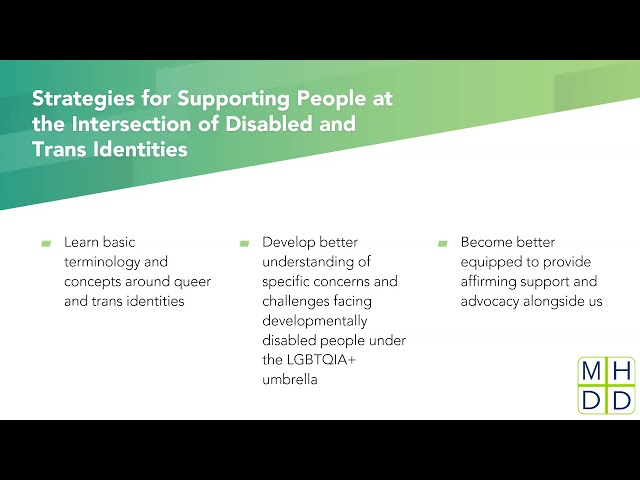 MHDD Webinar: Strategies for Supporting People at the Intersection of Disabled and Trans Identities