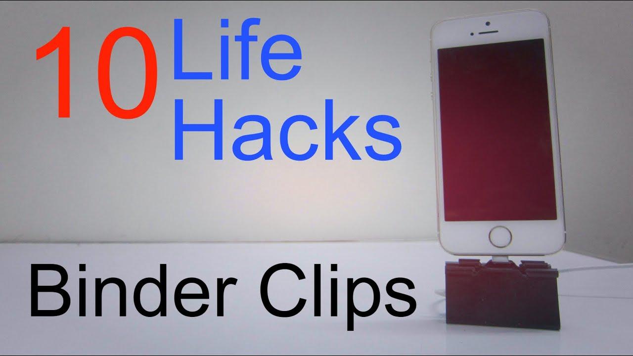 10 life hacks for binder clips youtube. Black Bedroom Furniture Sets. Home Design Ideas