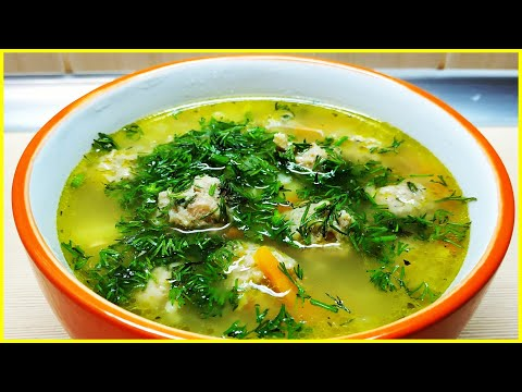 Суп с фрикадельками и яичной лапшой//Простой рецепт вкусного супа