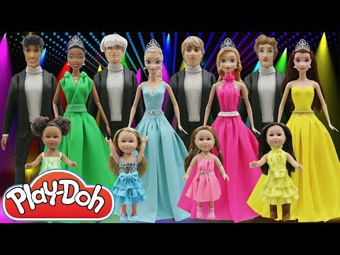 Play Doh Dress Disney Princess Elsa Anna Belle Tiana Naveen Kristoff Jack Frost The Beast