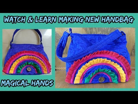 stylish handbag blue fabric make at home diy 2018