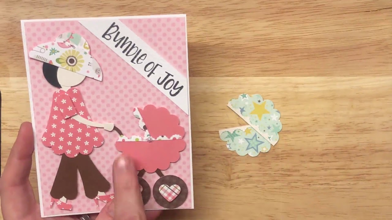 Mommy and Baby Stroller Punch Art Card