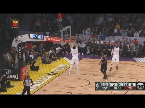 Lebron James Throws A Bounce Pass Alley Oop To Anthony Davis! 2018 NBA All Star Game!
