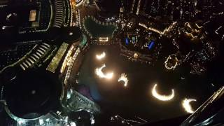 Top View of Dubai Fountain Show from Burj Khalifa At the Top