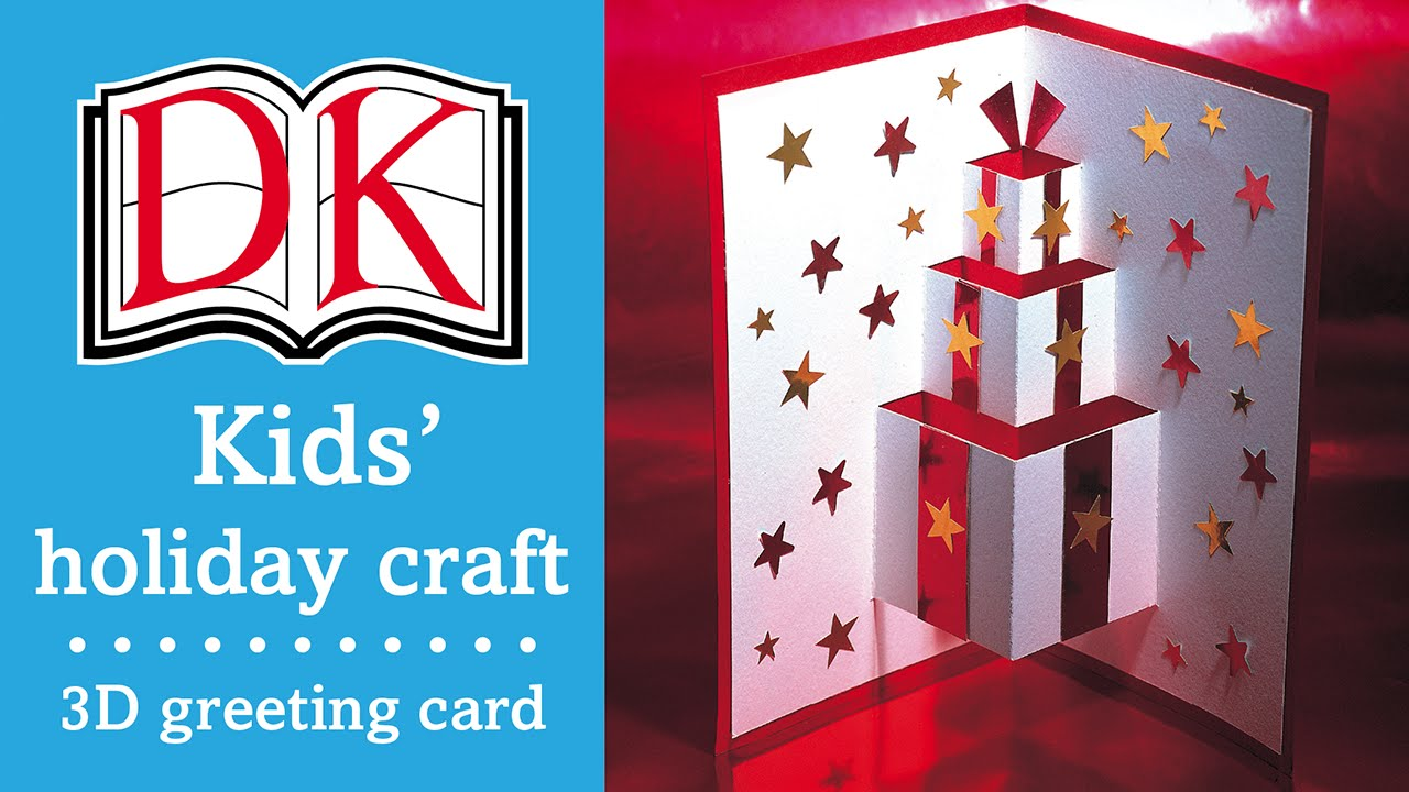Kids christmas craft 3d greetings card youtube kristyandbryce Image collections