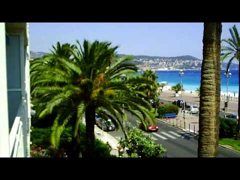 The Promenade des Anglais in Nice France: view from our holiday vacation apartment